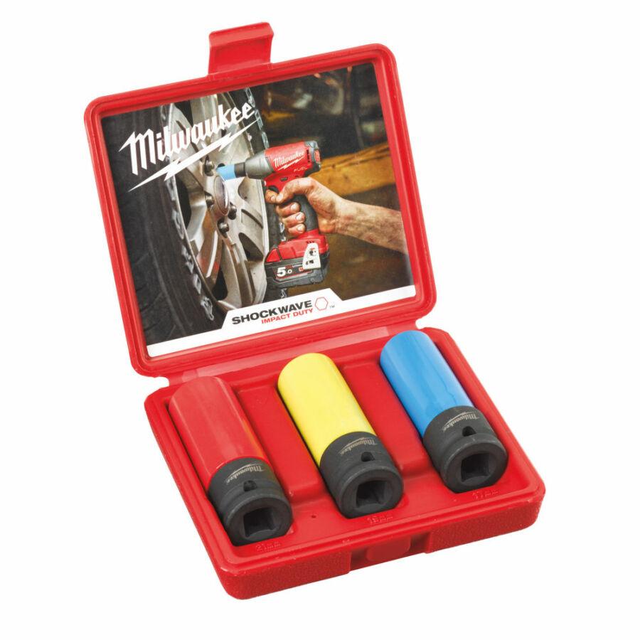 """Milwaukee 1/2"""" Dugókulcs készlet könnyűfém felnikhez 3 részes (17mm, 19mm, 21mm)   (4932451568)"""