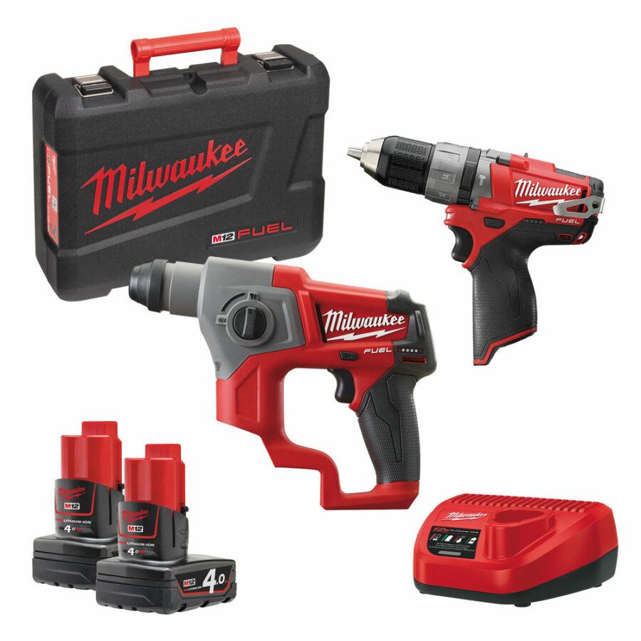 Milwaukee M12 szett: ütvefúró-csavarozó + SDS-plus fúrókalapács ! 2×4.0 akkumulátor, töltő + koffer   CPP2B-402C (4933447479 )