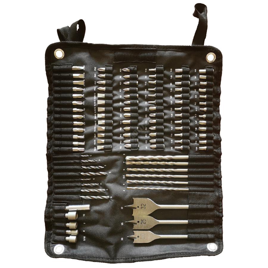 AEG szénkefe nélküli ütvefúró-csavarozó, 3 x 2,5 Ah akku, töltő, feltekerhető tartozéktartó 100 db-os, fém dobozban, LIMITÁLT FEKETE KIADÁS | BSB 18CBLLE LI-253X (4935464410)(4935464807)