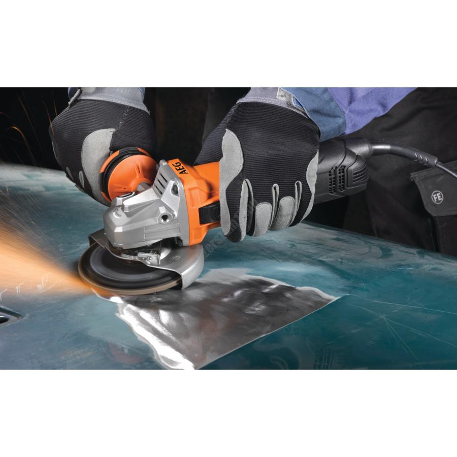 AEG 1300 W sarokcsiszoló, 125 mm, változtatható sebesség, védőburkolat, FIXTEC, pótfogantyú, feszültség alatti biztonsági relé, 4 m kábel, szerszámkofferben   WS 13-125SXEK (4935451310)
