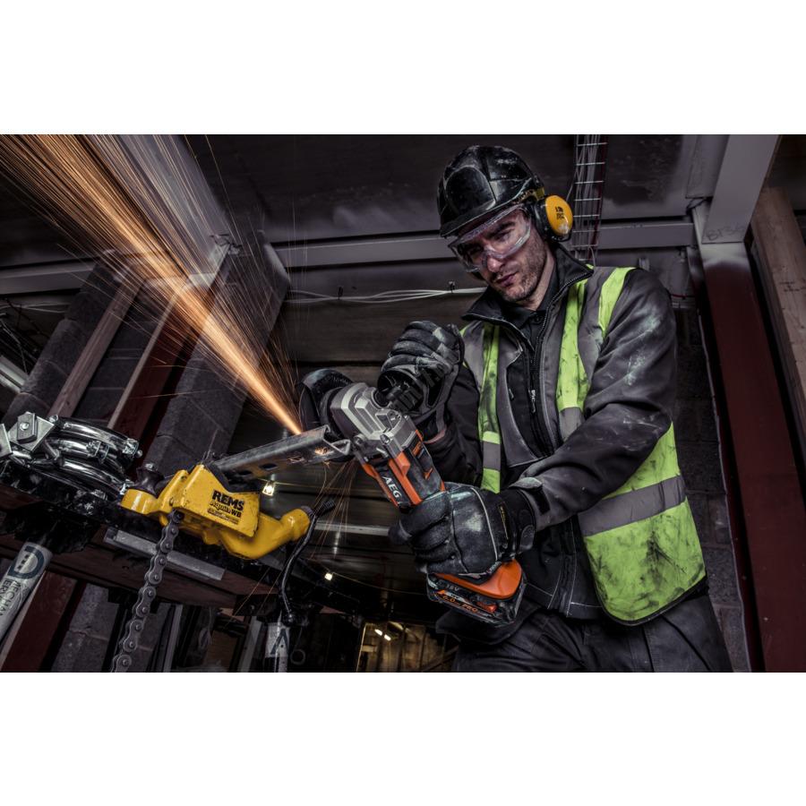 AEG 18 V szénkefe nélküli sarokcsiszoló 115 mm, 2 x 6,0 akkumulátor, töltő | BEWS 18-115 BL PX-602C (4935464423)