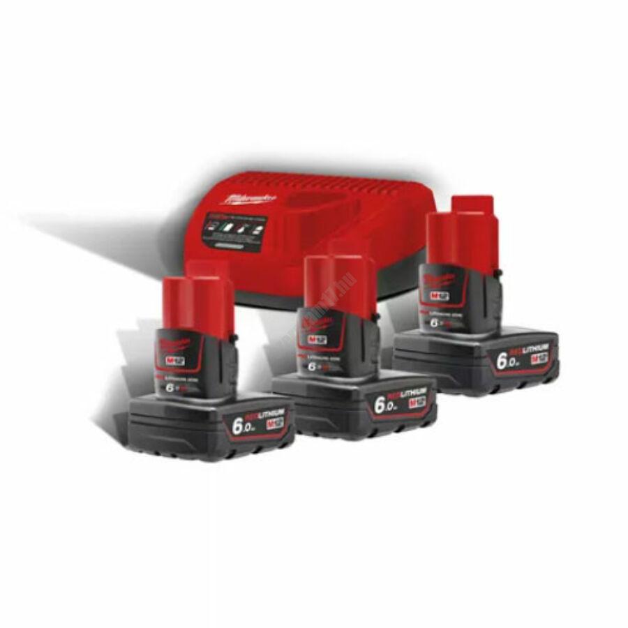 Milwaukee M12™ NRG pack, 3 x M12 B6 akkumulátor, C12 C Töltő   M12 NRG-603 (4933459208)