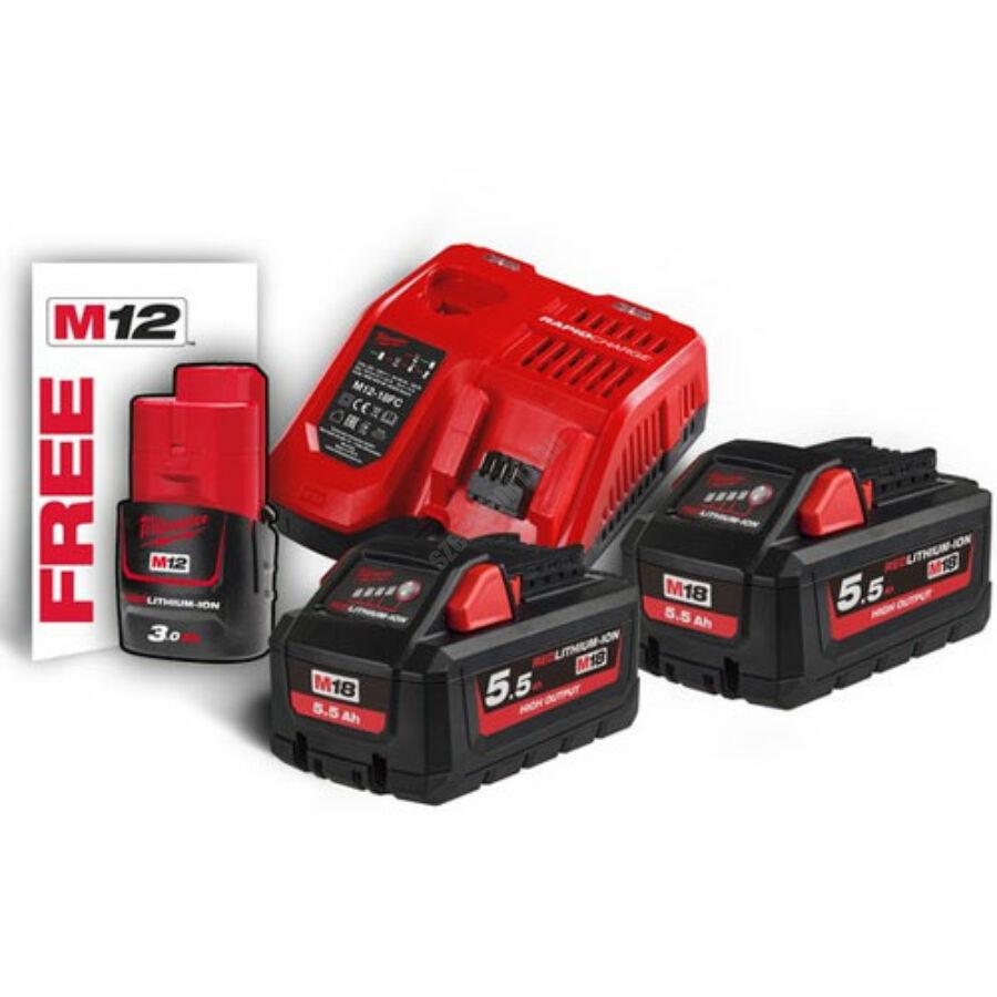 Milwaukee akkumulátor és töltő szett | M18 HNRG-552 (4933464713)