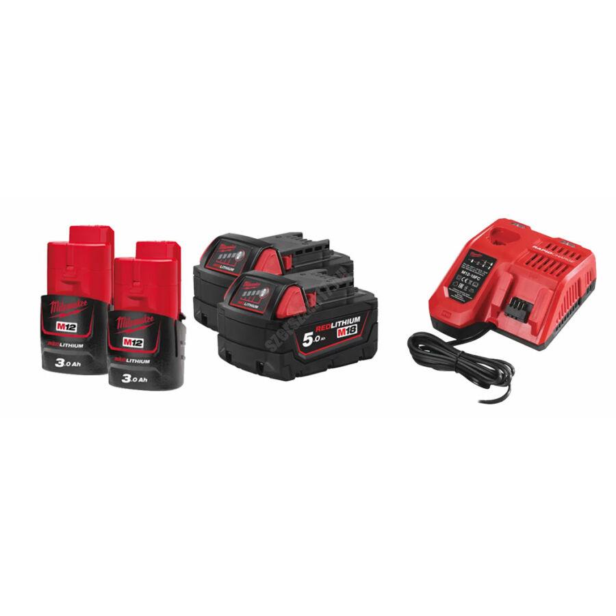 Milwaukee akkumulátor szett, 2 × M12 3.0 Ah akku, 2 × M18 5.0 Ah akku, 1 × M12-18 FC töltő   SZETT 13