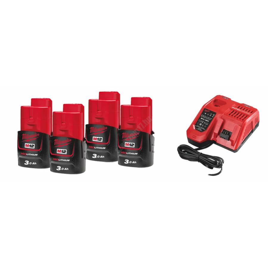 Milwaukee akkumulátor szett, 4 × M12 3.0 Ah és 1 ×  M12-18 FC Gyorstöltő | SZETT 9
