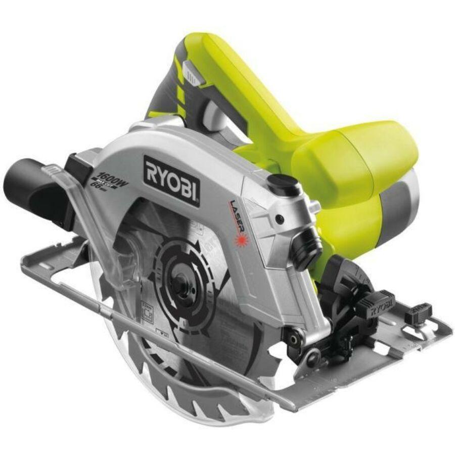Ryobi 1600 W körfűrész lézerrel, 190x16 mm fűrészlap, 24 fogas TCT fűrészlap | RCS1600-PG (5133002780)