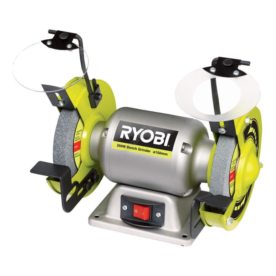 Ryobi 250 W köszörű, 36/60 csiszoló köszörű kerék, 2x védőlencse, 2x munkalap   RBG6G (5133002856)