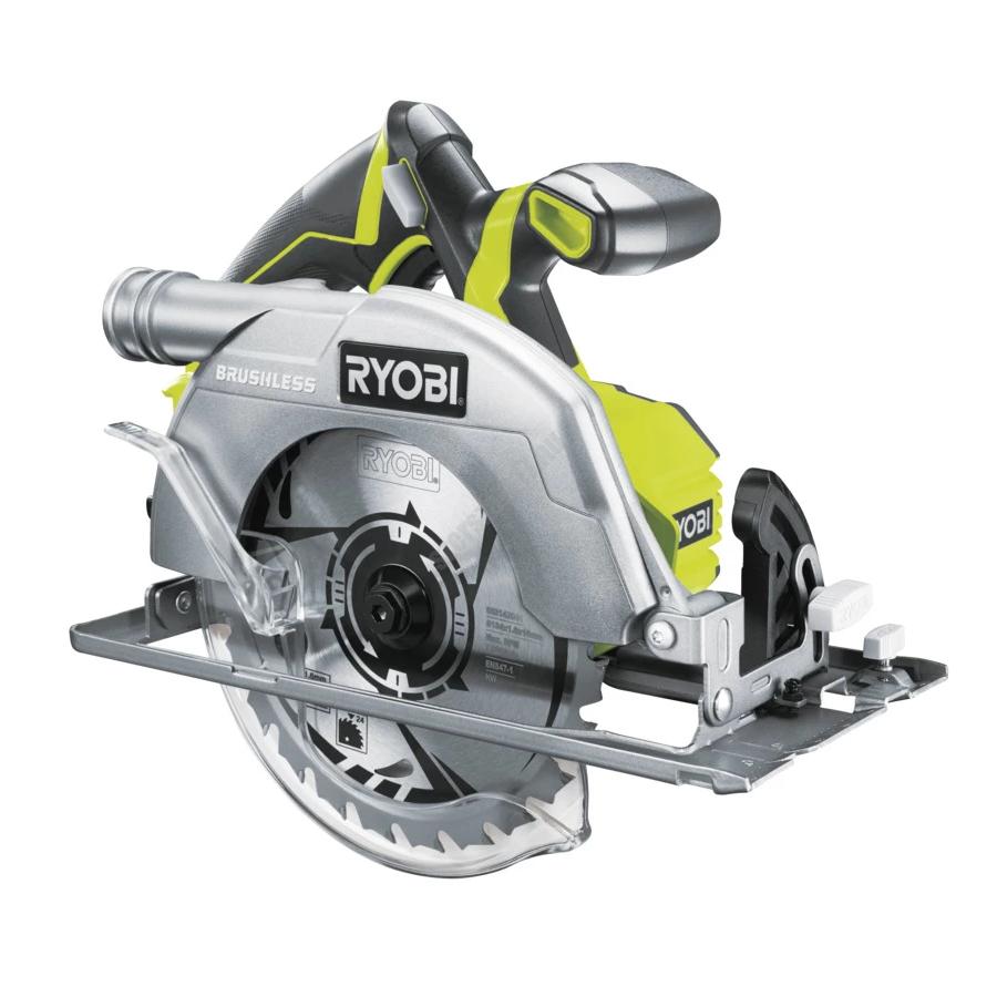 Ryobi 18 V szénkefe nélküli körfűrész,  1 x 24 fogas fűrészlap, párhuzamvezető ,akkumulátor és töltő nélkül | R18CS7-0 (5133002890)