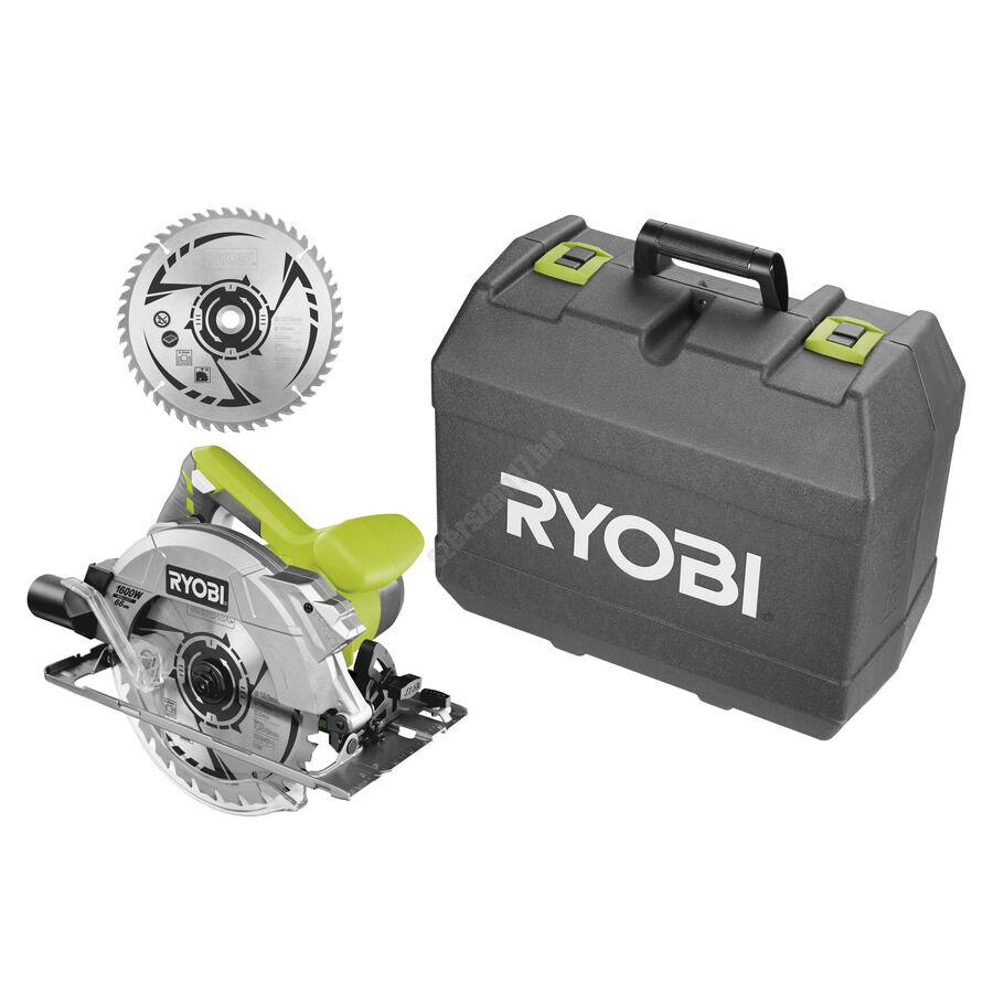 Ryobi 1600 W körfűrész lézerrel, 190x16 mm fűrészlap, 24 fogas TCT fűrészlap +1 x  körfűrészlap, koffer   RCS1600-K2B (5133002927)
