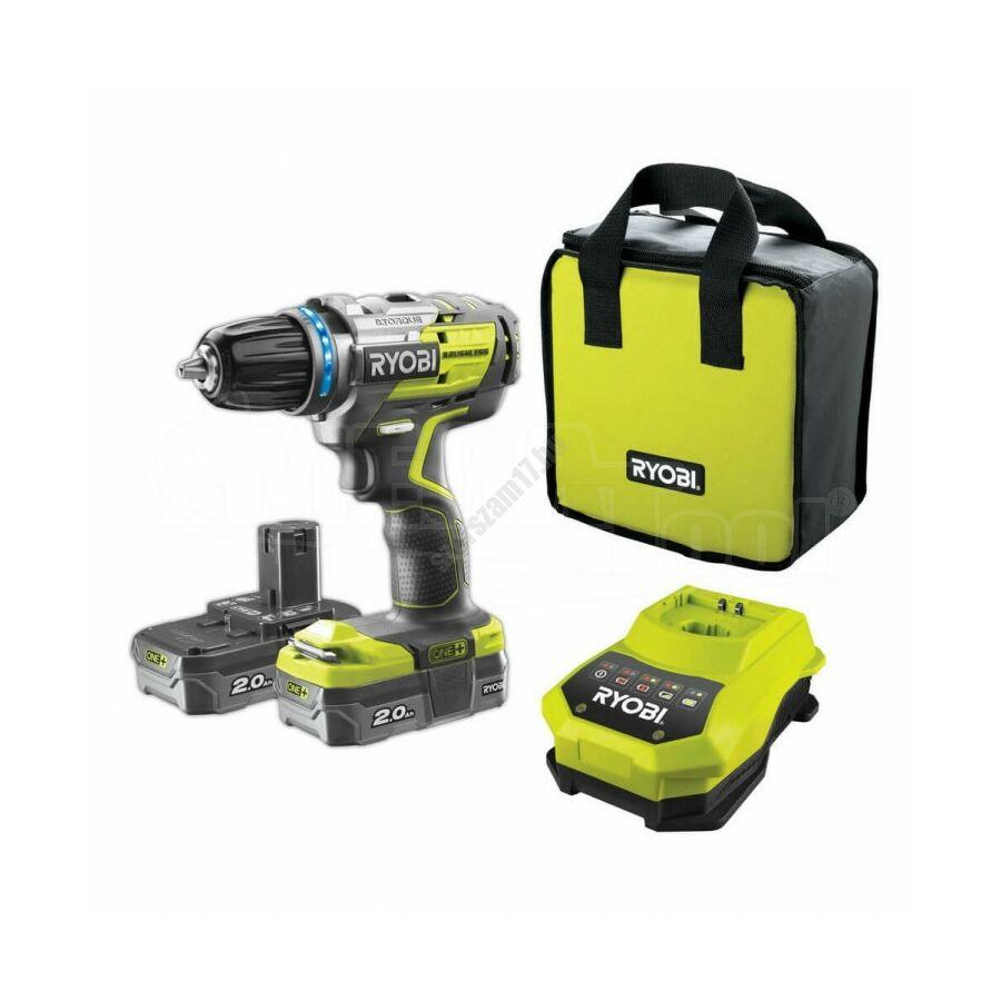Ryobi 18 V szénkfe nélküli fúrócsavarozó, 60 Nm, 2 seb, fokozat 0-440/1700 foird/perc, E-torque  2 x 2,0 Ah, RC18-120 töltő, táska | R18DDBL-220S (5133003435)