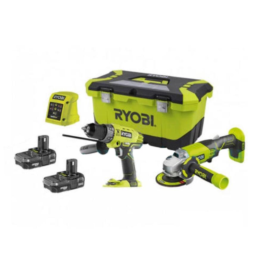 Ryobi 18V erőcsomag (R18PD3 + R18AG + 2 x 2,0Ah akkumulátor, RC18-120 töltő) | R18PDAG-220S (5133003766)